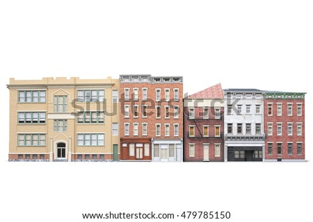 old town buildings isolted on...