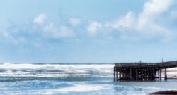 Old town district's pier in Lincoln City, on the Oregoncoast, provides a nice view of the Pacific Ocean waves.
