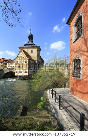 Old Town Hall, Bamberg, Bavaria, Germany on a little island in the river Regnitz