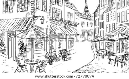 old town - illustration sketch