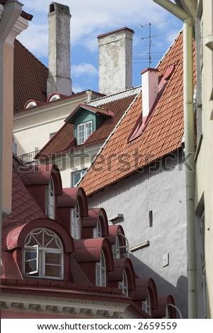 Old town in Estonia. Classical european architecture.