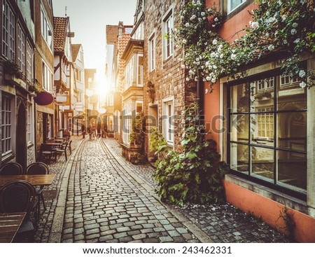 old town in europe at sunset...