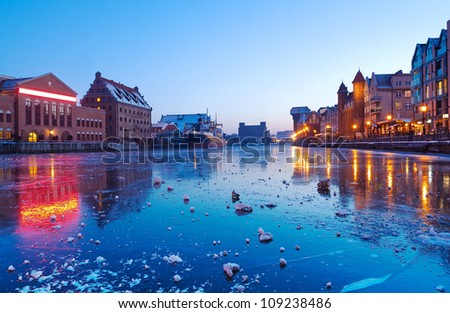 Old town in Gdansk with Motlawa river at dusk, Poland