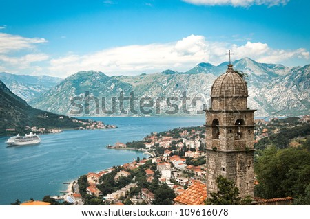 Old town in mountains in Kotor