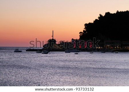 Old town in the bay, Montenegro - stock photo