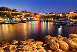 Old town Kaleici in Antalya, Turkey at night - travel background