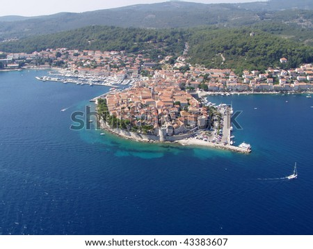 Old town Korcula island in Croatia, Adriatic sea - aerial view