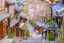 Old town Kyoto, the Higashiyama District during sakura season in Japan