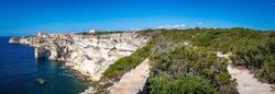 Old Town of bonifacio, dramatically siutated atop an eroding limestone promontory. Corsica, France