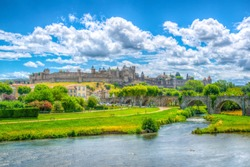 Old town of Carcassonne and pont vieux in France