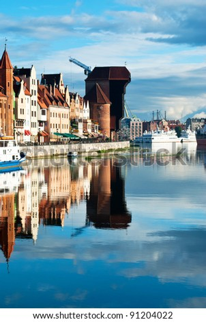 Old Town of Gdansk (Danzig) in Poland with Motlava river and the Crane
