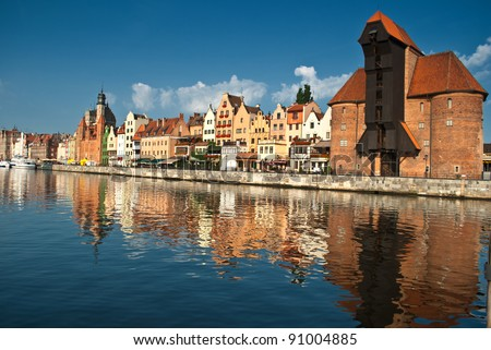 Old Town of Gdansk (Danzig) in Poland with Motlava river and the Crane on the far end