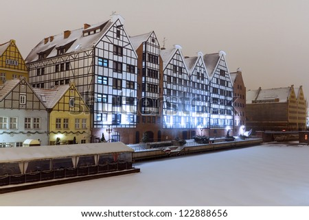 Old town of Gdansk in winter scenery, Poland