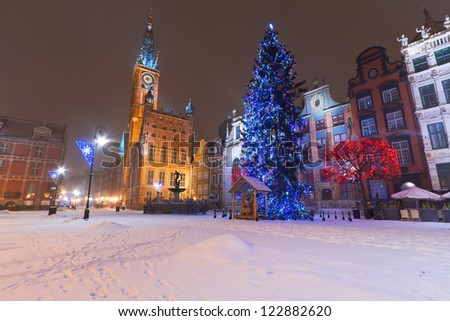Old town of Gdansk in winter scenery with Christmas tree, Poland