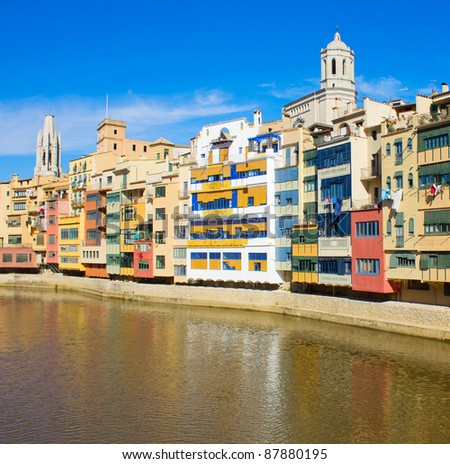 old town of Girona on river Onyar, Spain