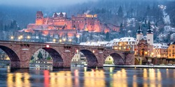 Old town of Heidelberg with castle and old bridge in winter, Baden-Wuerttemberg, Germany