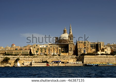 old town of La Valetta in Malta island, view from the ocean