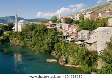 Old town of Mostar and Neretva river from the Old Bridge (Stari Most), Bosnia and Herzegovina.