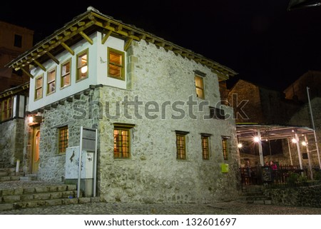 Old town of Mostar by night