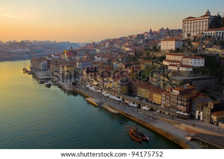 old town of Porto at sunset, Portugal