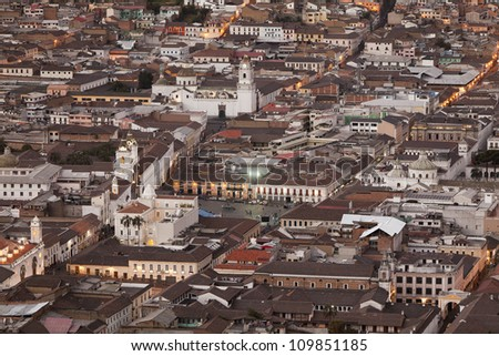 Old town of Quito as seen from Panecillo statue.