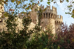 Old town of Rhodes , Greece -25oct-2020 :  Historical streets of old town Rhodes  Dodecanese, Greece