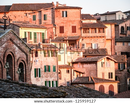 old town of siena - italy - stock photo