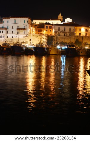 Old town of Termoli with it's harbor by night