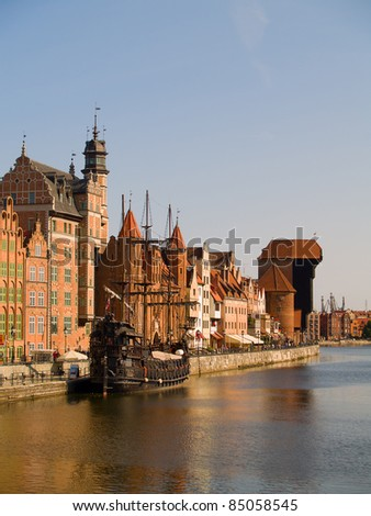 Old town on Motlawa river , Gdansk, Poland