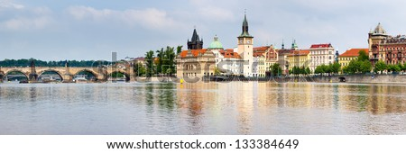 Old Town reflected in the River Vltava shot from Strelecky Ostrov Island Prague