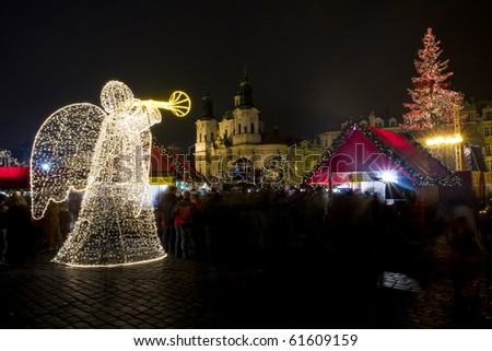 Old Town Square at Christmas time, Prague, Czech Republic