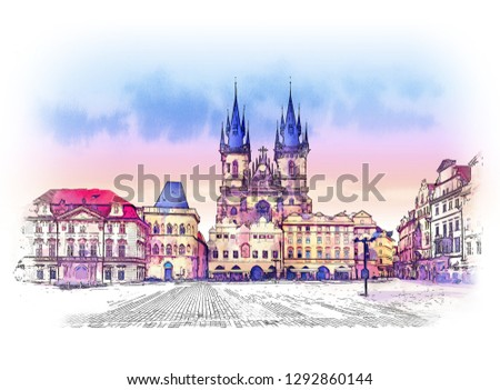 Old town square in Prague, Czech Republic. Watercolor sketch.