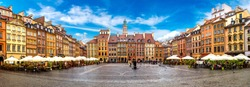 Old town square in Warsaw in a summer day, Poland