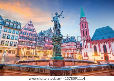 Old town square romerberg in Frankfurt, Germany at twilight