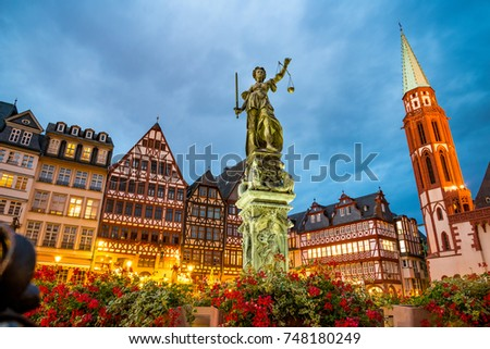 old town square romerberg with Justitia statue in Frankfurt Germany #748180249