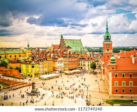 Old town square, Warsaw Poland, retro toned #1172749240