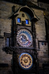 Old Town Square with Astromonic Clock In Prague In The Czech Republic