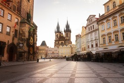 Old town square with  Tyn cathedral church  Prague, Czech Republic