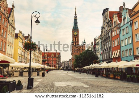 Old Town street and buildings in Gdansk, Poland. European travel destinations. #1135161182