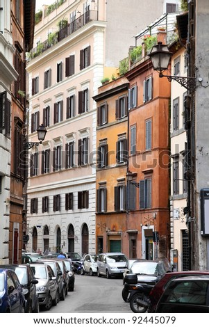 Old town view and Mediterranean architecture in Parione district of Rome, Italy