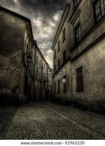 Old town vintage architecture. Road to nowhere concept. High dynamic range.