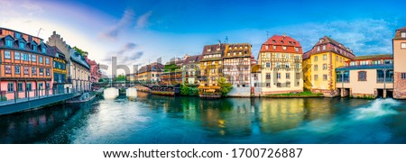 Old town water canal panorama of Strasbourg, Alsace, France. Traditional half timbered houses of Petite France