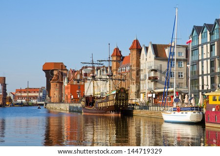 Old town waterfront over Motlawa, Gdansk ,  Poland