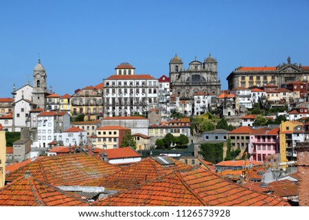 Old towns roofs of Porto, Portugal. #1126573928