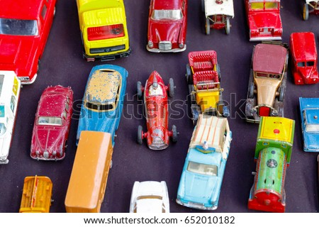 Old toy cars displayed at a junk shop in Old Spitalfields Market in London #652010182