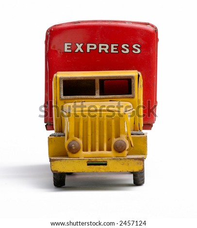Old toy metal express truck head-on
