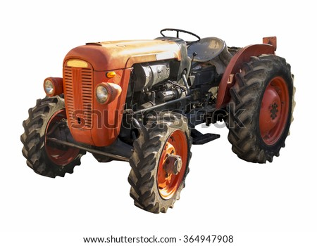 old tractor isolated on white background