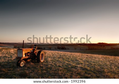 Old tractor sitting in the pasture under morning light