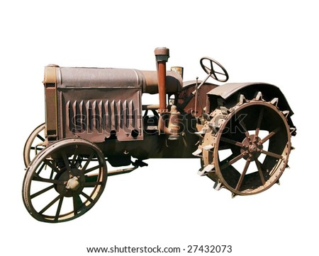 old tractor with clipping path