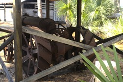 Old tractors, wagons, farm implements